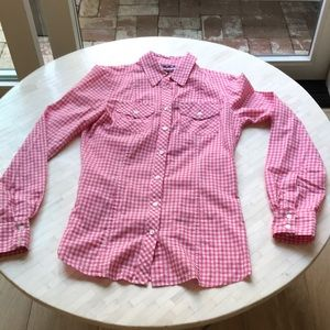 Banana Republic Pink Gingham Shirt